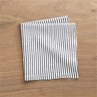 Liam Grey Striped Linen Cloth Napkin