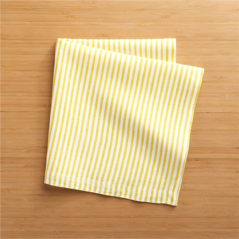 Hand-printed organic stripes line white linen napkin in soft yellow.<br /><br /><NEWTAG/><ul><li>Handcrafted</li><li>100% linen</li><li>Machine wash, tumble dry; warm iron as needed</li><li>Oversized to allow for shrinkage</li><li>Made in India</li></ul>