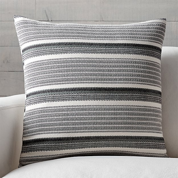 "Lidia 23"" Grey-Ivory Striped Pillow with Down-Alternative Insert"