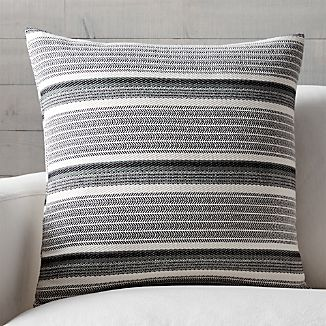 "Lidia Grey-Ivory Striped 23"" Pillow"