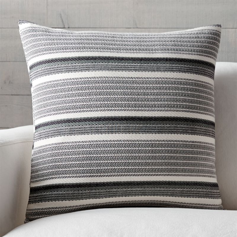 "Lidia 23"" Striped Pillow with Feather-Down Insert"