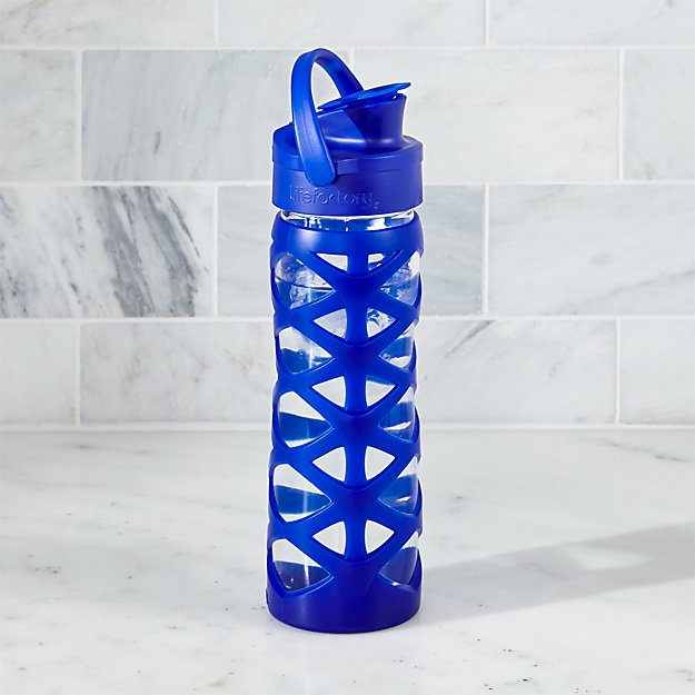 Lifefactory 16 oz. Glass Bottle with Active Flip Top and Sapphire Blue Sleeve