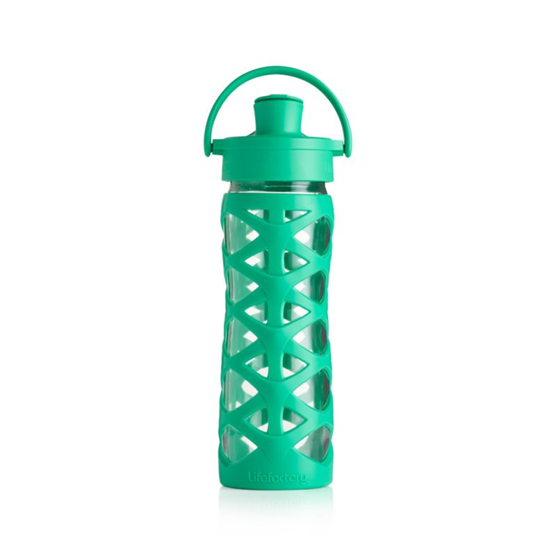 Lifefactory 16 oz. Glass Bottle with Active Flip Top and Aquatic Green Sleeve