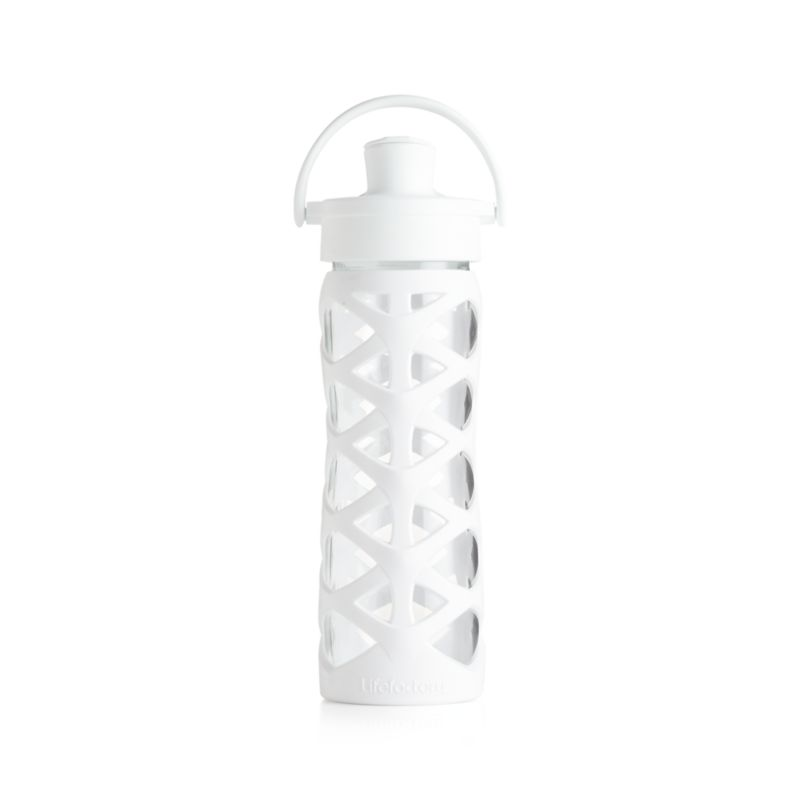 Lifefactory 16 oz. Glass Bottle with Active Flip Top and Optic White Sleeve