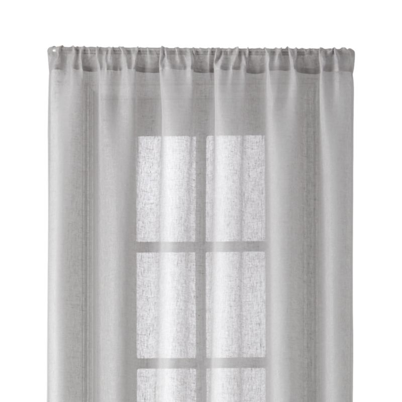 Light Grey Linen Sheer 52 X108 Curtain Panel Crate And Barrel