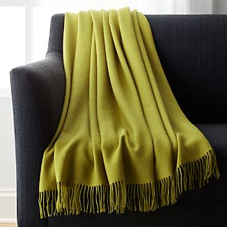 Lima Alpaca Olive Green Throw Blanket