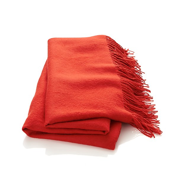 Orange Throw Pillows Crate And Barrel : Lima Alpaca Mandarin Orange Throw Crate and Barrel