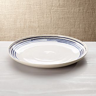 Lina Blue Stripe Round Platter