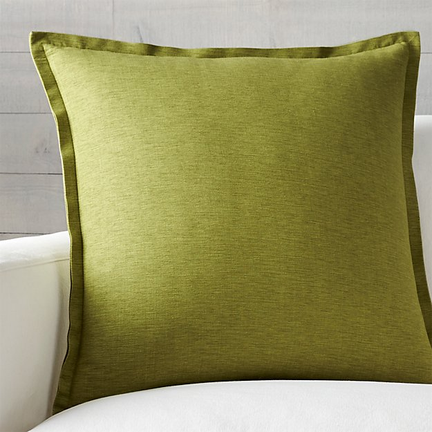 "Linden Apple Green 23"" Pillow with Feather-Down Insert"