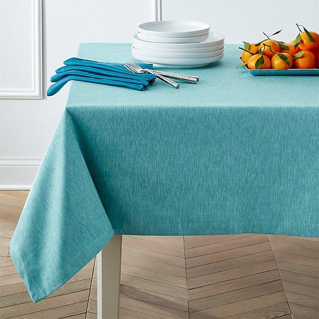 """Linden Aqua 60""""x90"""" Tablecloth"""