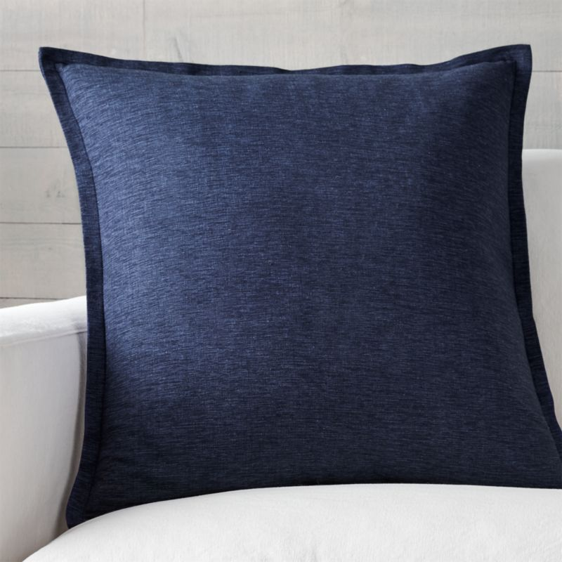 "Linden Cobalt 23"" Pillow with Feather-Down Insert"