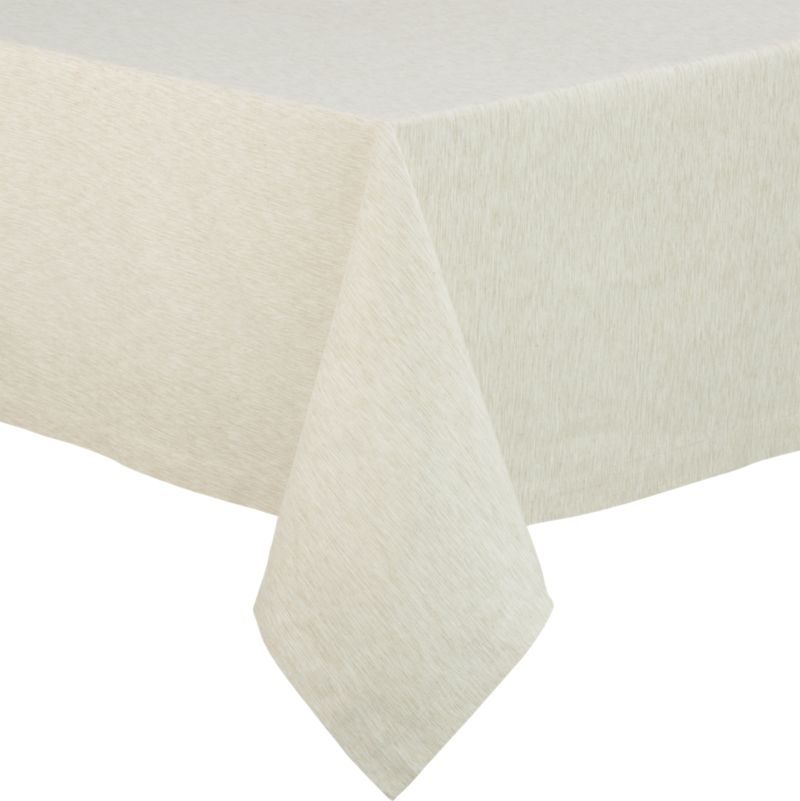 "Richly textured cotton-rayon tablecloth is woven in a tone-on-tone hue for all year round. Custom-tailored with 1.5"" hem and mitered corners.<br /><br /><NEWTAG/><ul><li>Cotton-rayon blend tablecloths</li><li>Oversized to allow for shrinkage</li><li>Machine wash tablecloth cold, tumble dry low, and iron damp</li><li>Made in India</li></ul><br />"