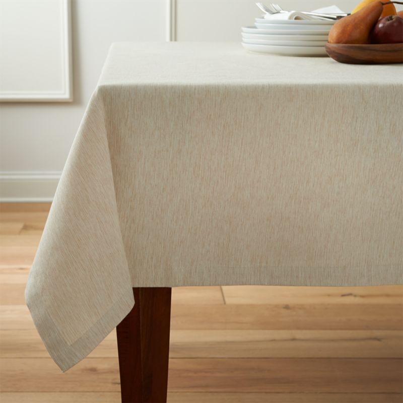 """Linden Ecru  60""""x144"""" Tablecloth"""