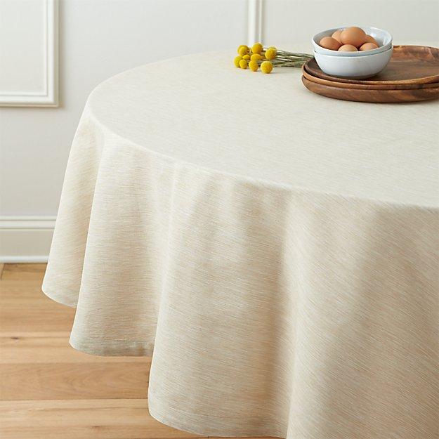 "Linden Ecru 90"" Round Tablecloth"