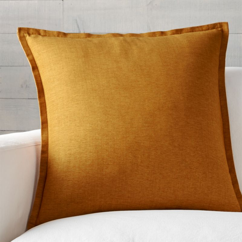"Linden Gold 23"" Pillow with Feather-Down Insert"