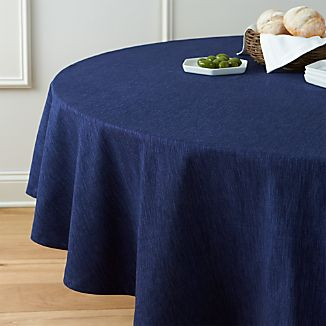"Linden Indigo 90"" Round Tablecloth"
