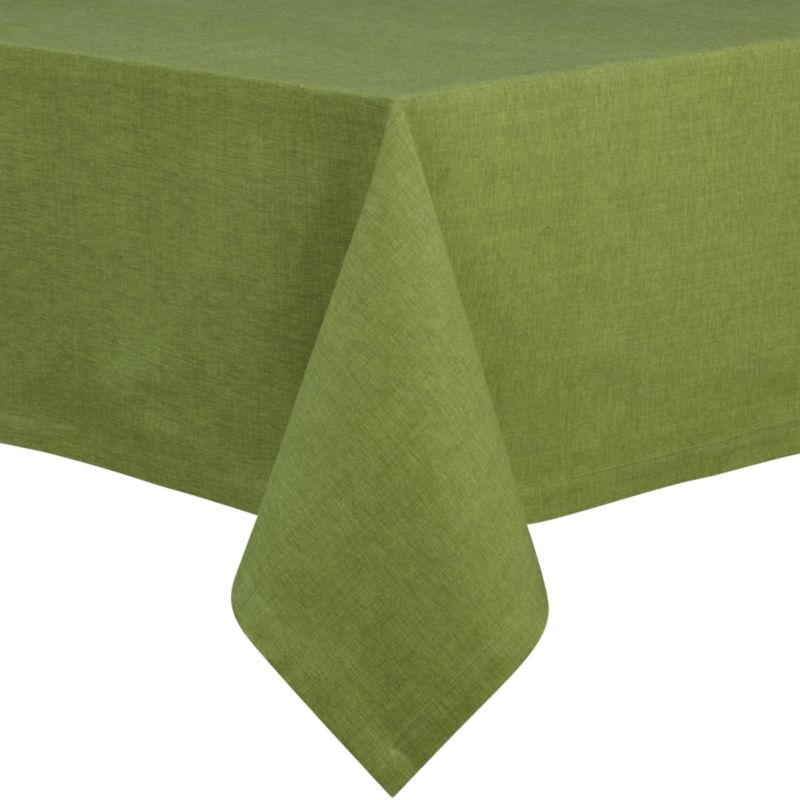 "Richly textured cotton-rayon tablecloth is woven in a tone-on-tone hue for all year round. Custom-tailored with 1.5"" hem and mitered corners.<br /><br /><NEWTAG/><ul><li>Cotton-rayon blend</li><li>Packaged in a reusable self-fabric storage bag</li><li>Oversized to allow for shrinkage</li><li>Machine wash cold, tumble dry low, and iron damp; or dry clean</li><li>Made in India</li></ul>"