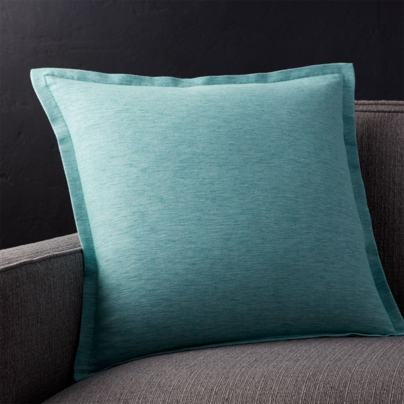 "Linden Ocean 18"" Pillow with Feather-Down Insert"