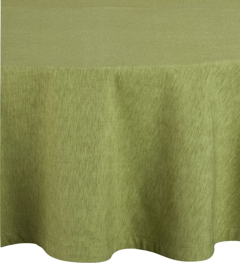"Richly textured cotton-rayon tablecloth is woven in a tone-on-tone hue for all year round. Custom-tailored with 1.5"" hem and mitered corners.<br /><br /><NEWTAG/><ul><li>Cotton-rayon blend tablecloths</li><li>Oversized to allow for shrinkage</li><li>Machine wash tablecloth cold, tumble dry low, and iron damp</li></ul><br />"