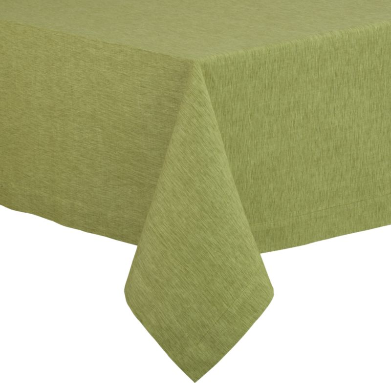 "Richly textured cotton-rayon tablecloth is woven in a tone-on-tone hue for all year round. Custom-tailored with 1.5"" hem and mitered corners.<br /><br /><NEWTAG/><ul><li>Cotton-rayon blend tablecloths</li><li>Oversized to allow for shrinkage</li><li>Machine wash tablecloth cold, tumble dry low, and iron damp</li><li>Made in India</li></ul>"
