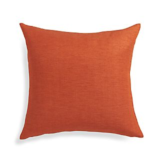 "Linden Copper Orange 18"" Pillow with Feather-Down Insert"