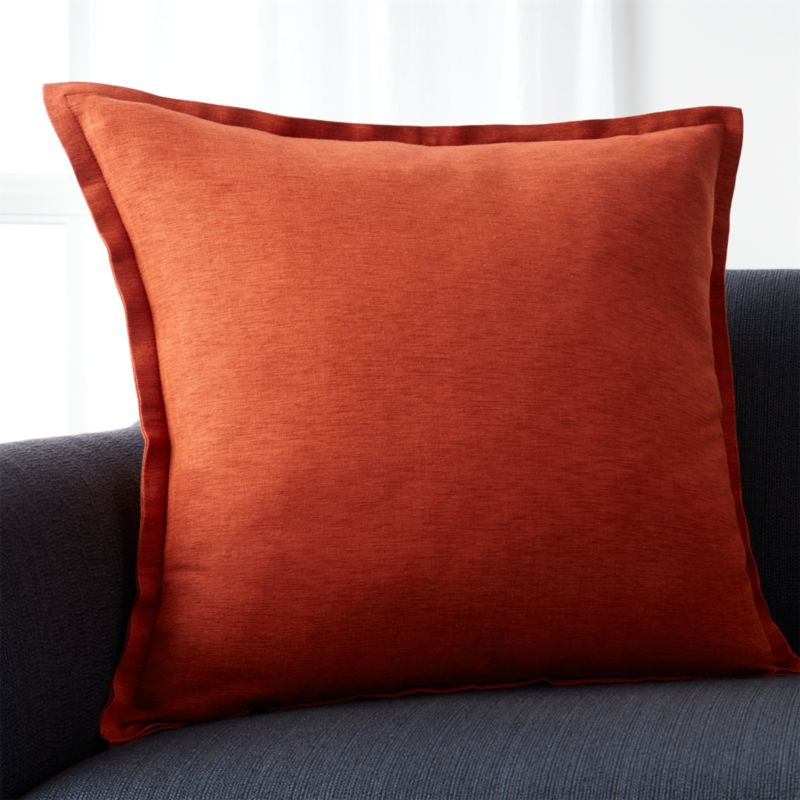 """Linden Copper Orange 23"""" Pillow with Feather-Down Insert"""