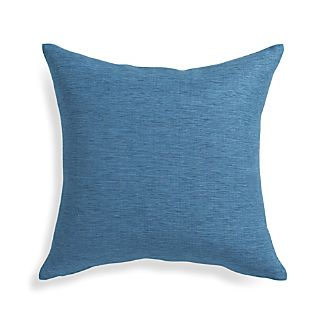 "Linden Indigo Blue 18"" Pillow with Feather-Down Insert"