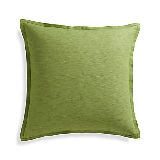 "Linden Leaf Green 23"" Pillow with Feather-Down Insert"