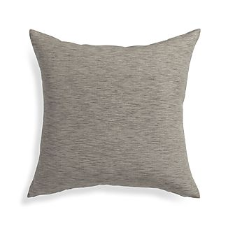 "Linden Mushroom Grey 18"" Pillow with Feather-Down Insert"