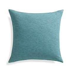 "Linden Ocean Blue 18"" Pillow with Feather-Down Insert"