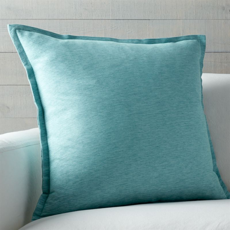"Linden Ocean 23"" Pillow with Feather-Down Insert"