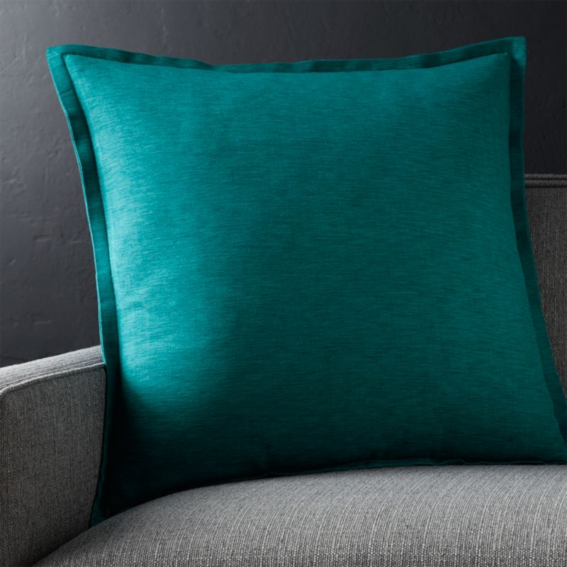 "Linden Peacock Blue 23"" Pillow with Down-Alternative Insert"