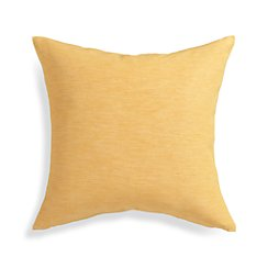"Linden Saffron Yellow 18"" Pillow with Feather-Down Insert"
