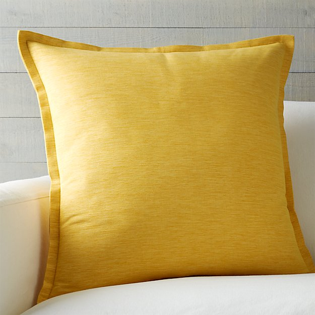 """Linden Saffron Yellow 23"""" Pillow with Feather-Down Insert"""