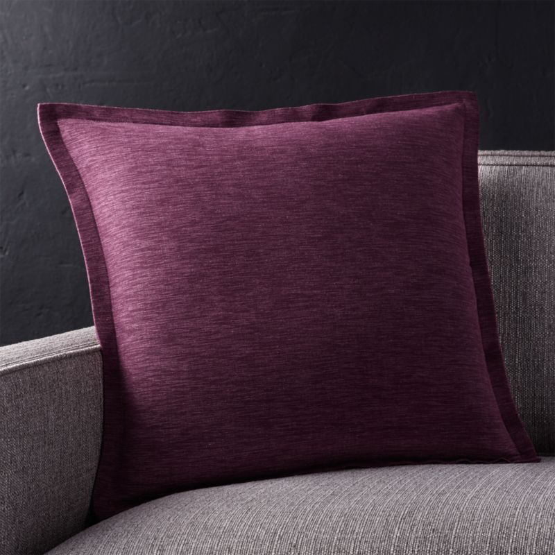 "Linden Plum 18"" Pillow with Feather-Down Insert"