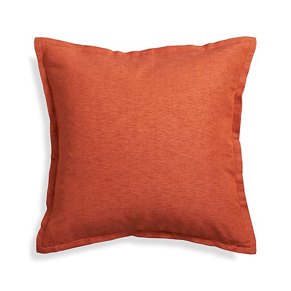 "Linden Copper Orange 23"" Pillow with Feather-Down Insert"