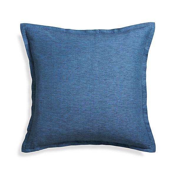 """Linden Indigo Blue 23"""" Pillow with Down-Alternative Insert"""