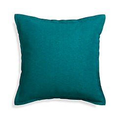 "Linden Peacock Blue 23"" Pillow with Feather-Down Insert"