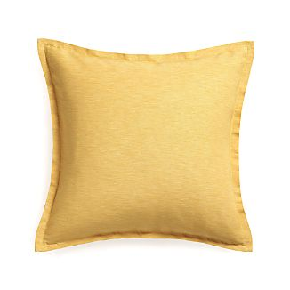 "Linden Saffron Yellow 23"" Pillow with Feather-Down Insert"
