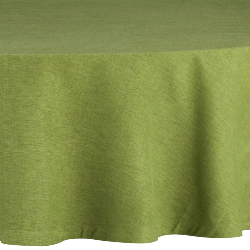 "Richly textured cotton-rayon tablecloth is woven in a tone-on-tone hue for all year round. Custom-tailored with 1"" hem.<br /><br /><NEWTAG/><ul><li>Cotton-rayon blend</li><li>Packaged in a reusable self-fabric storage bag</li><li>Oversized to allow for shrinkage</li><li>Machine wash cold, tumble dry low, and iron damp; or dry clean</li><li>Made in India</li></ul><br />"