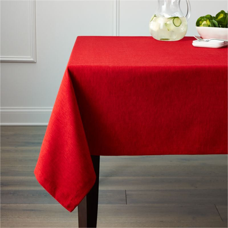 "Richly textured cotton-rayon tablecloth is woven in a tone-on-tone hue for all year round. Custom-tailored with 1.5"" hem and mitered cornders.<br /><br /><NEWTAG/><ul><li>Cotton-rayon blend</li><li>Packaged in a reusable self-fabric storage bag</li><li>Oversized to allow for shrinkage</li><li>Machine wash cold, tumble dry low, and iron damp; or dry clean</li><li>Made in India</li></ul>"