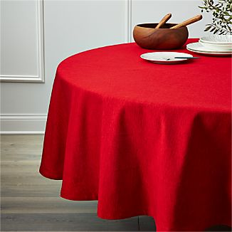 "Linden Ruby Red 90"" Round Tablecloth"