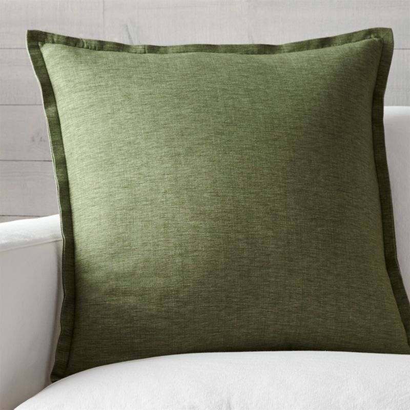 "Linden Sage 23"" Pillow with Feather-Down Insert"