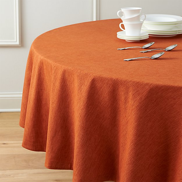 Linden Sienna Orange 90 Round Tablecloth Crate And Barrel