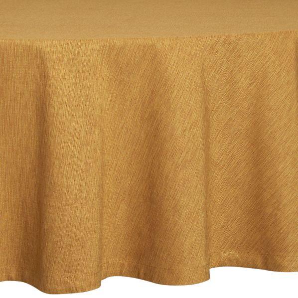 """Linden Butterscotch 90"""" Round Tablecloth"""