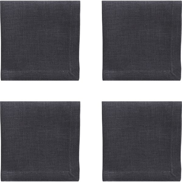 Set of 4 Linen Graphite Cocktail Napkins