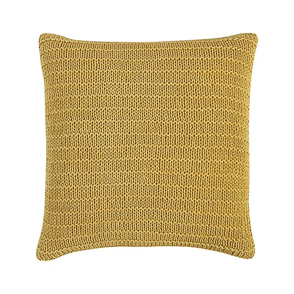 "Linen Knit Gold 18"" Pillow with Feather-Down Insert"