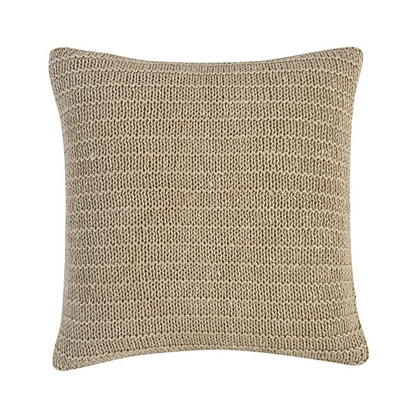 "Linen Knit Natural 18"" Pillow with Feather-Down Insert"