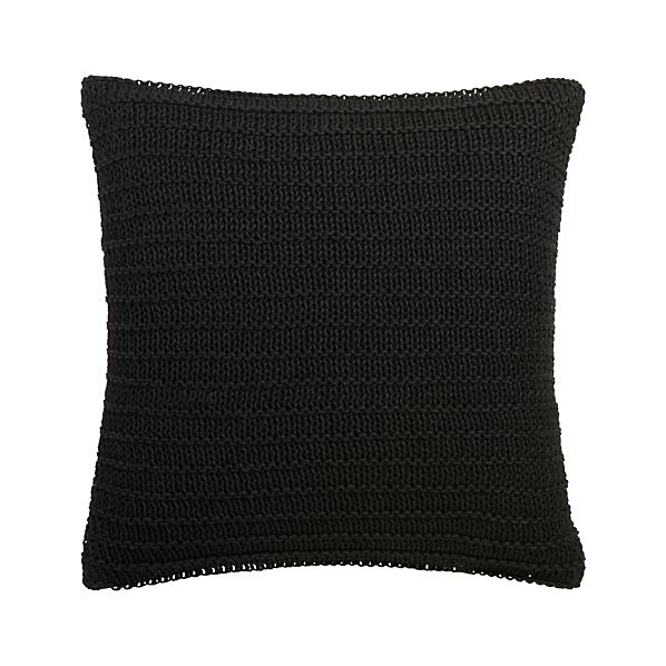 "Linen Knit Black 18"" Pillow with Feather-Down Insert"