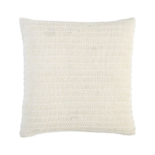 "Linen Knit White 18"" Pillow with Feather-Down Insert"